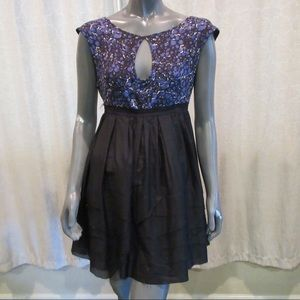 bebe Blue Black Keyhole A-Line Mini Dress NWT